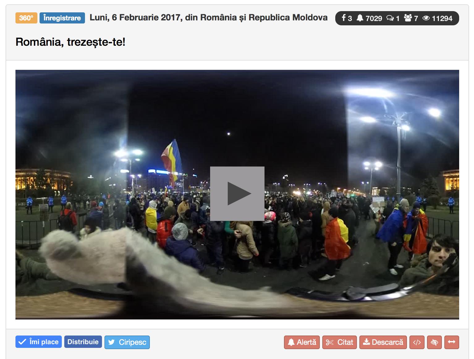 Video filmat cu camera de sferică, 360 grade.